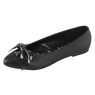 850c157a3c8d Womens Black Flats Shoes Glitter Bat Bow Charm Pointed Toe Shoes Vegan  Leather Size  6