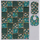 Fun & Loveable SOCK MONKEY Print with Coordinating Prints in Green and Tan, Baby Rag Quilt with Matching Burp Cloth and Bib