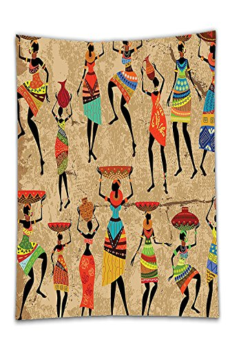 Interestlee Satin drill Tablecloth?African American Art History and Culture of Honor Ethnic Dresses Women Tribal Print for Bedroom Accessories Creative Collection Camel Red Green Brown Dining Room Kit (Cloth Octagon Table)