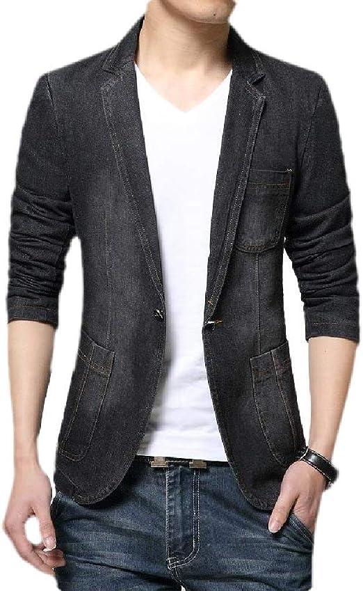 Yeirui Mens Denim Slim 1 Button Long Sleeve Notch Lapel Blazer Jacket Sport Coat