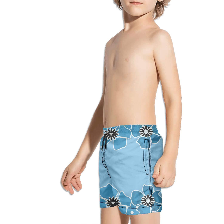 Ouxioaz Boys Swim Trunk Blue Flower blackground Beach Board Shorts