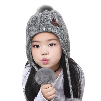 19529192cf473 Amazon.co.jp: キッズ ニット帽 子供帽子 リボン 耳あて付 ベビー帽子 ...