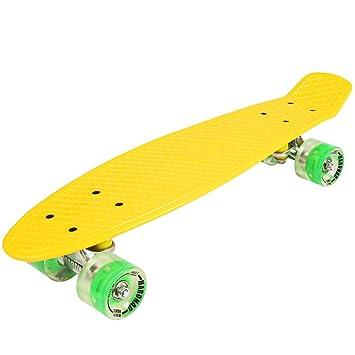 Penny ABEC - 7 - Monopatín skate board con ruedas LED iluminación (amarillo) 7508e7cced1