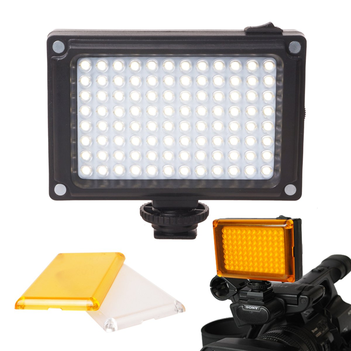Rechargeble 96 LED Video Light, Ulanzi Pocket Mini on Camera Led Light with 2500mAh Battery and Magnet Filters for Sony Panasonic Canon Nikon DSLR Camcorder