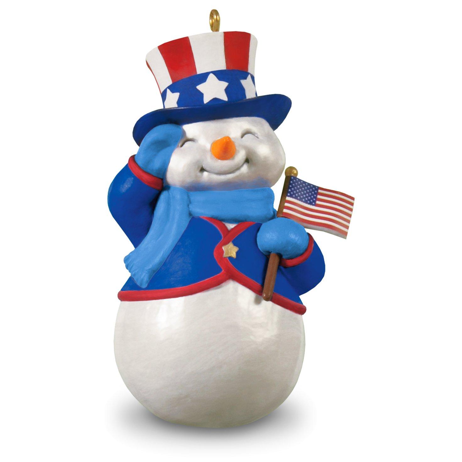 Patriotic Snowman Christmas Ornament Hallmark Keepsake Ornament Hallmark Cards 995QGO1581