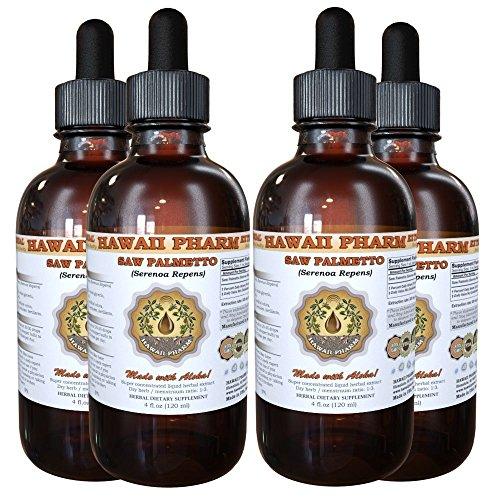Saw Palmetto Liquid Extract, Organic Saw Palmetto (Serenoa Repens) Tincture, Herbal Supplement, Hawaii Pharm, Made in USA, 4x4 fl.oz by HawaiiPharm
