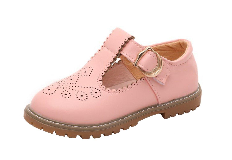 WUIWUIYU Girls Students T-Strap Oxfords Shoes Hollowed Flower Princess Uniform Dress Mary Jane Flats 290016U