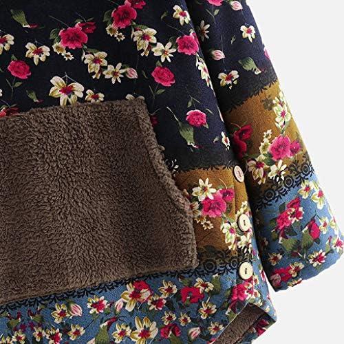 iHENGH Damen Fleece Patchwork Blumendruck Langarm Taschen Plus Size Hoodie Top