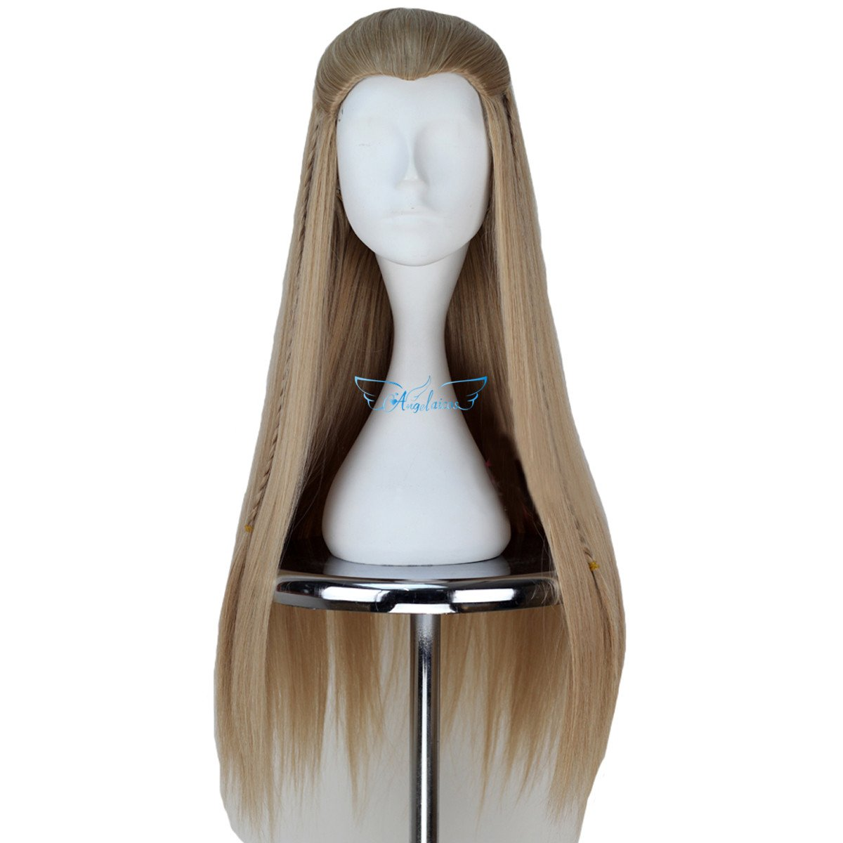 Angelaicos Unisex Braids Prestyled Straight Halloween Costume Cosplay Party Full Wigs Long Blonde