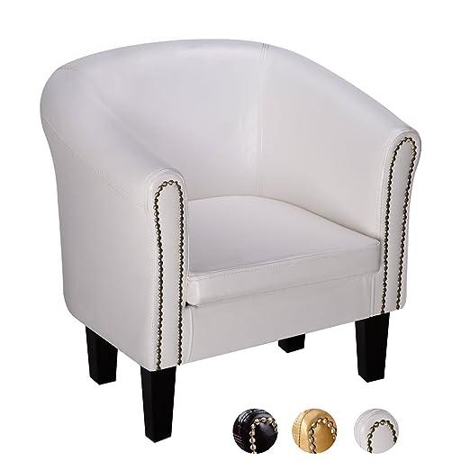 CCLIFE Sillón Chesterfield -Sofá Chesterfield Diseño clásico sillon chester para sala, comedor, oficina, butaca sillon salon, Color:Blanco