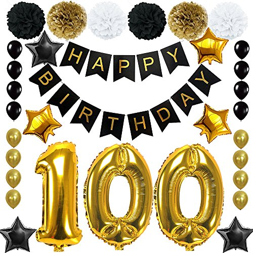 Happy 100th Birthday Banner Ballons Set for 100 Years Old Birthday Party Decoration Supplies Gold Black (100) by waway