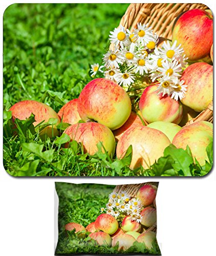 Apples Organic Support (Luxlady Mouse Wrist Rest and Small Mousepad Set, 2pc Wrist Support design organic apples in a garden on green grass IMAGE: 25941958)