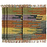 HF by LT Handwoven 100% Cotton Mesa Placemats, 13'' x 19'', Reversible, Versatile Sun Washed Design, Multi-Colored, Set of 4