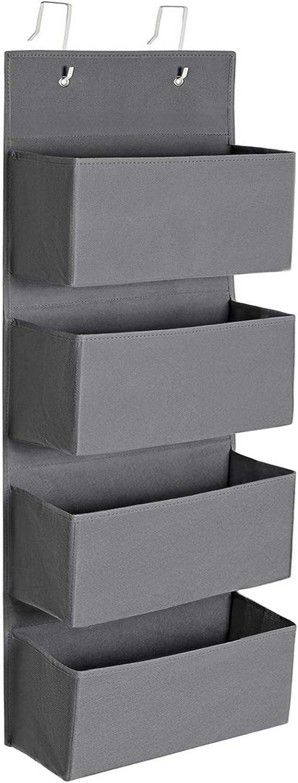 SONGMICS Bolsa Colgante de Puerta con 4 Bolsillos, Organizador Colgante de Pared, Práctico y Espacioso, para Dormitorio, Oficina, 33,5 x 12 x 100 cm, Gris RDH04G
