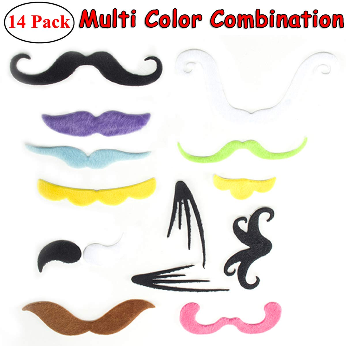 14 Pcs Novelty Fake Mustaches Self Adhesive Fake Mustaches for Masquerade Party and Performance
