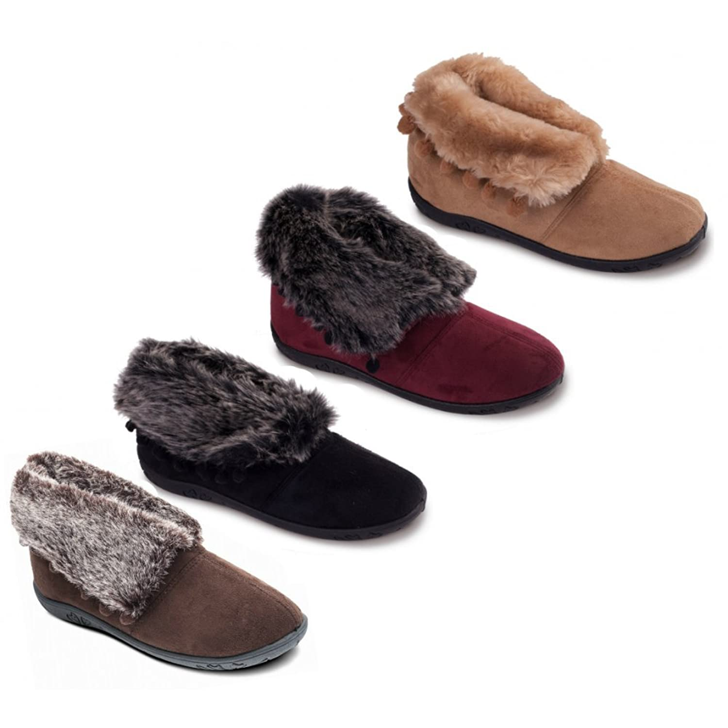 Padders ESKIMO Ladies Microsuede Faux Fur Extra Wide (EE) Fit Boot Slippers  Black: Amazon.co.uk: Shoes & Bags