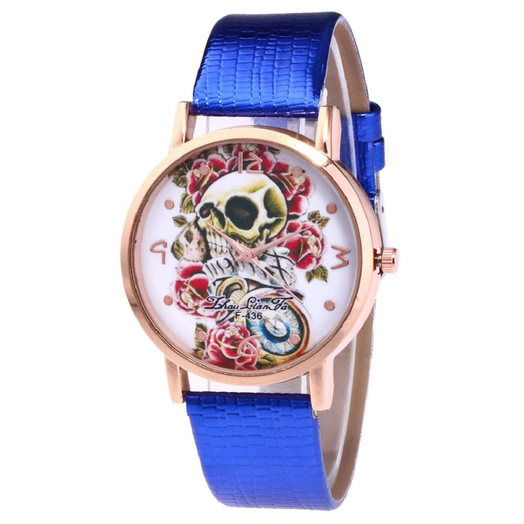 Women Quartz Watch,Hosamtel Lady Leather Band Sugar Skull Floral Analog Watch A63 (Blue)