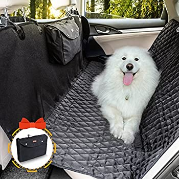 Dog Seat Cover, Doglemi Pet Seat Cover Waterproof Hammock Non-Slip with Quilted Padded Durable and Back Seat Cover for Dogs Cars Trucks Vans and SUVs(Black)