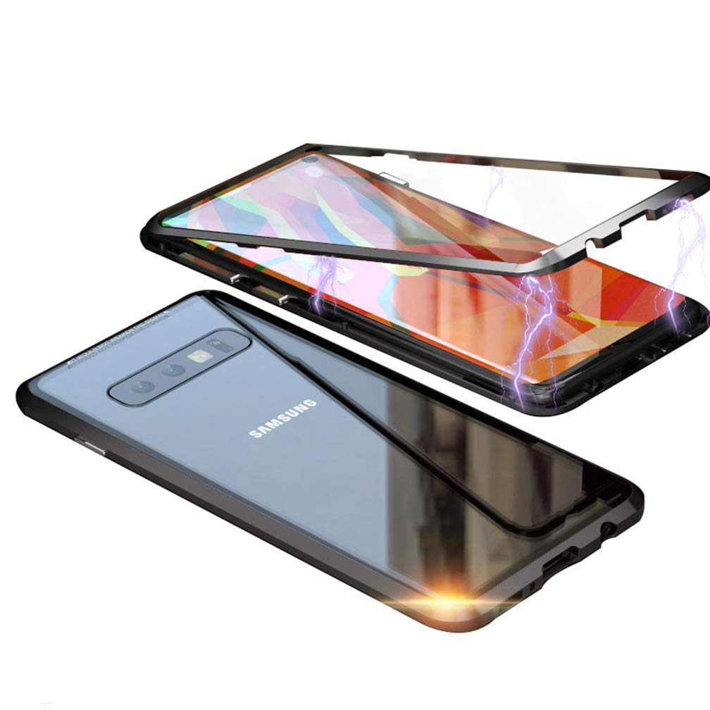 UMTITI Compatible Samsung Galaxy S10 Plus Case, Magnetic Clear Tempered Glass Cover with a Screen Protector (Black) by UMTITI