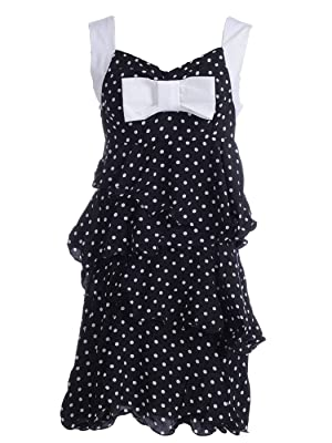 Anna-Kaci S/M Fit Black and White Polka Dot Tiered Ruffle Bow Front Trim Dress