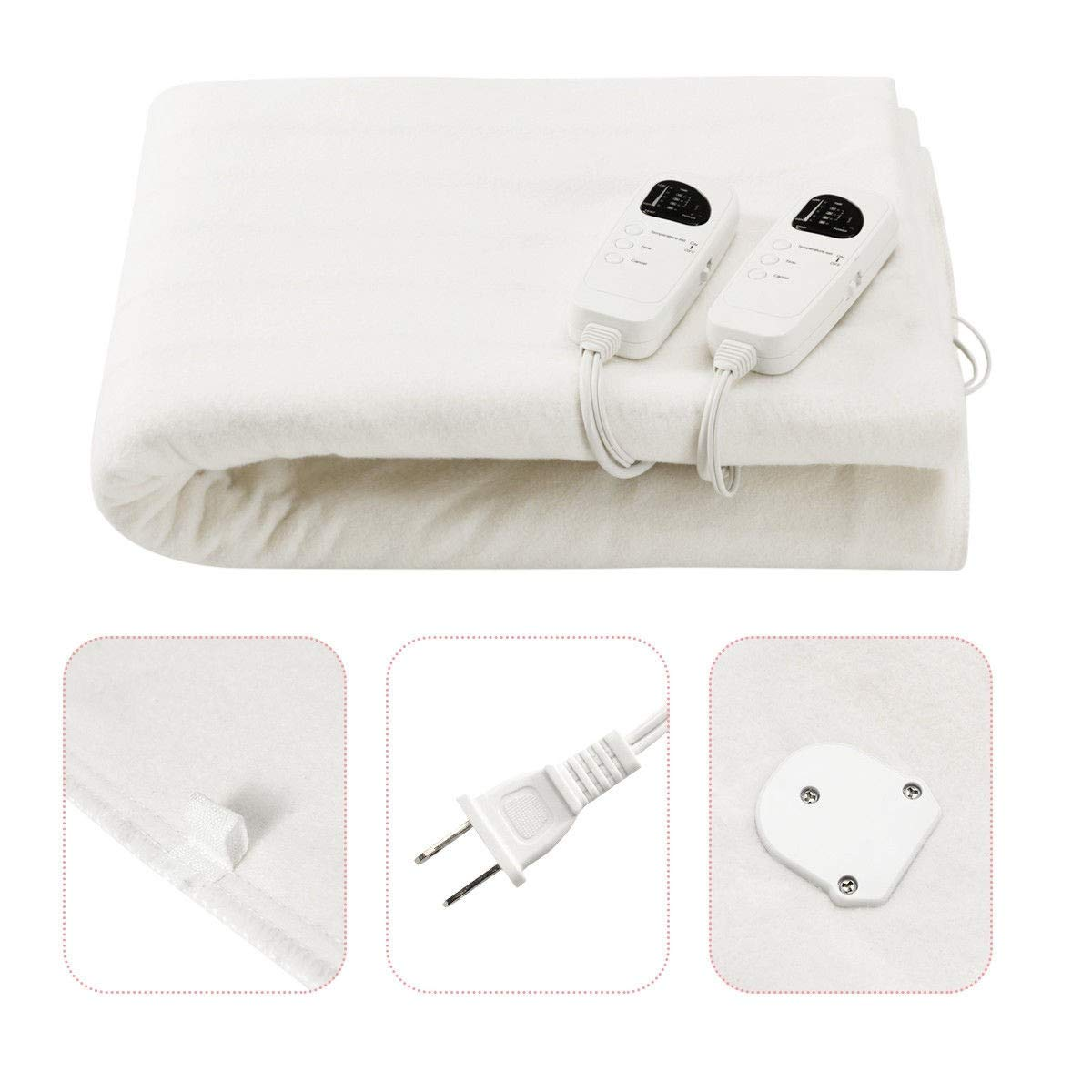 USA_BEST_SELLER 8H Timer Electric Heated Thermal Blanket 5 Temperature Modes Low-Voltage Heat Function 8H Electric Blanket, Soft Comfortable Polyester Fibre