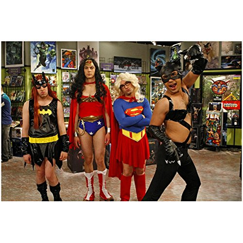 Koothrappali Costume (The Big Bang Theory Boys Dressed in Girl Super Suit Costumes 8 x 10 Inch Photo)