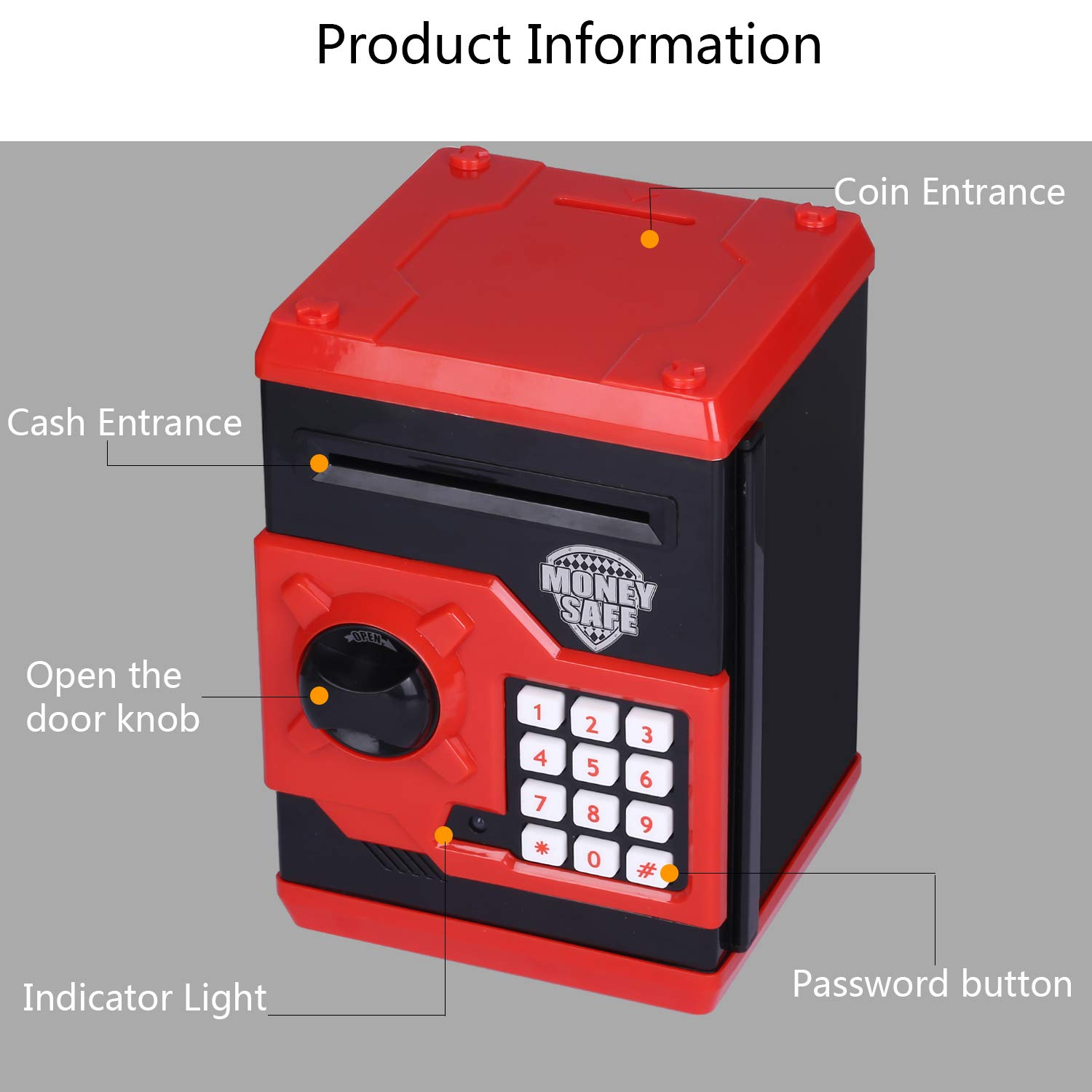 kingsida Electronic Password Piggy Bank Kids Safe Bank Mini ATM Electronic Money Save Box Cash Coin Can(Black and Red) by kingsida (Image #3)