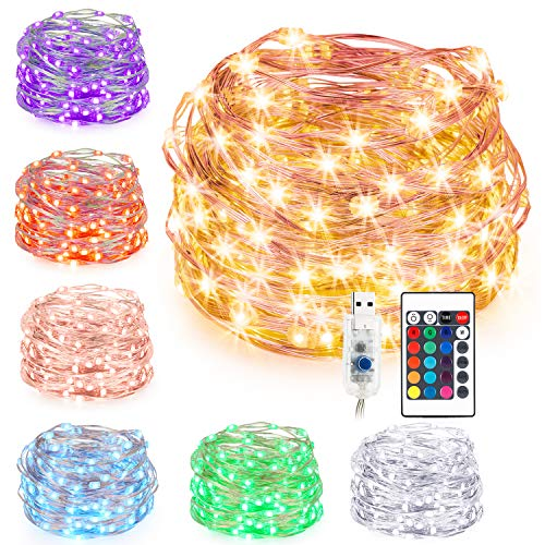(Kohree String Lights Christmas Light, Fairy Light, 33ft 100 LEDs 16 Colors, USB Powered Warm White Multi Color Changing String Lights with Remote, Silver Wire Lights for Holiday Decoration)