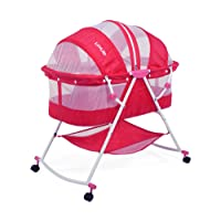 Luvlap Sunshine Baby Bed with Wheels (Pink)