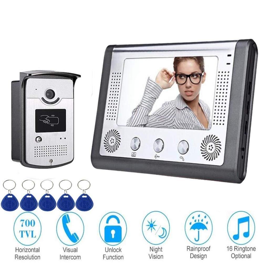最新のデザイン ビデオカメラドアベル7インチインターホン1ボタン監視 B07R45XL2P/通話、IDカードロック解除 B07R45XL2P, nabemitsu:7cb119f6 --- dou13magadan.ru