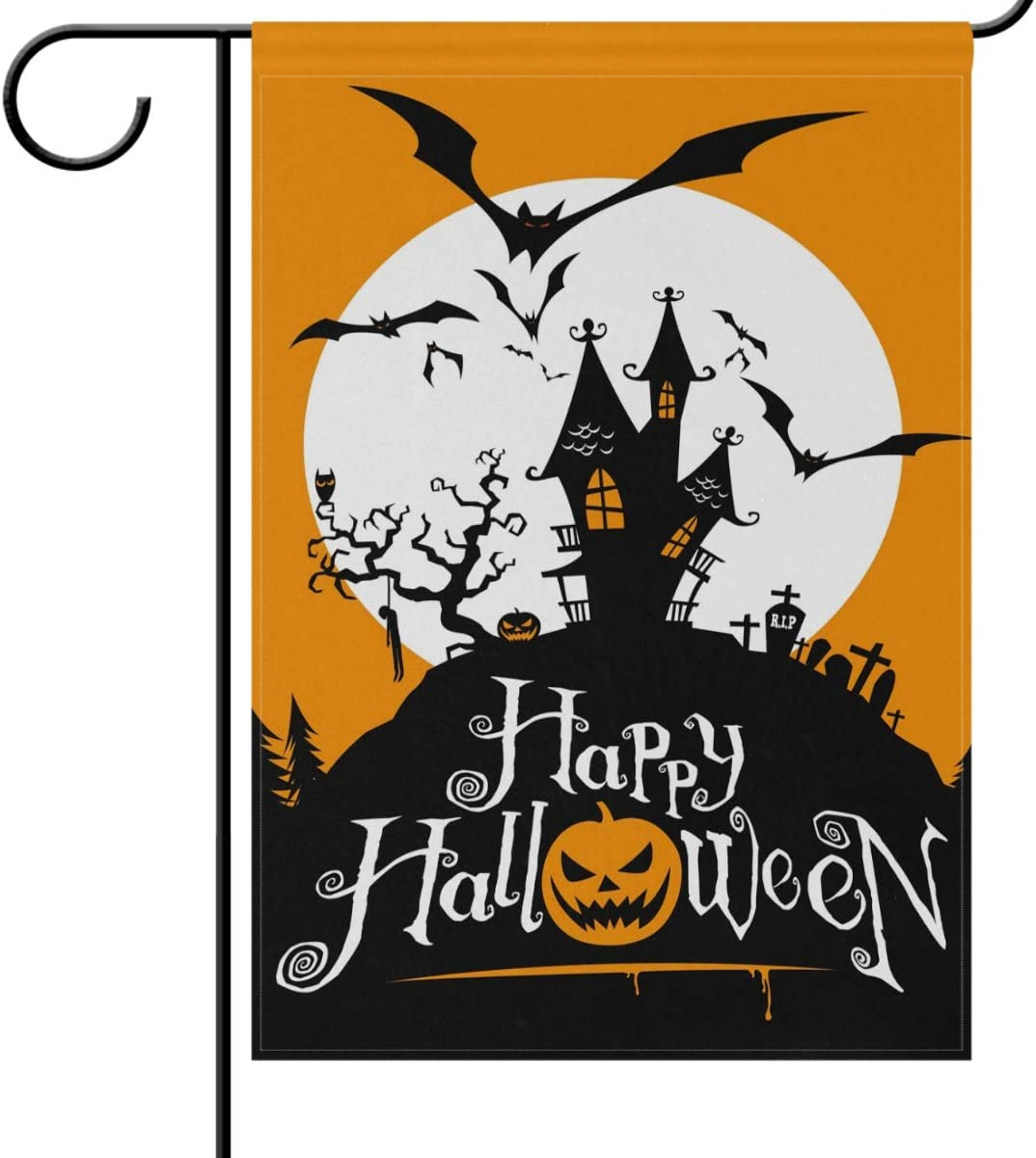 Amazon Com Wamika Halloween Garden Flags 12 X 18 Double Sided Spooky Castle Grave Pumpkin Bat Funny Scary Welcome Autumn Fall Winter Holiday Outdoor Yard House Flags Banner For Party Home Decor