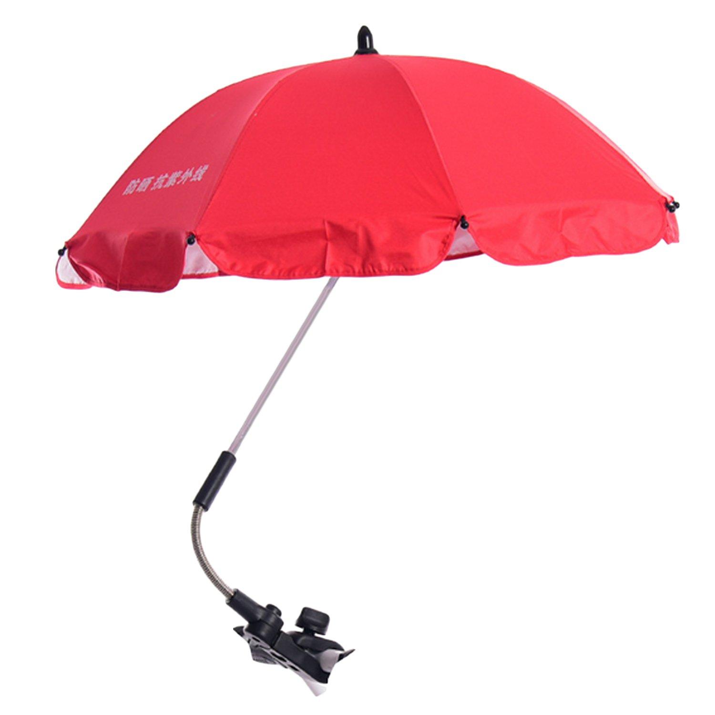Umbrella for Stroller, Adjustable Baby Stroller Sun Shade Pram UV Rain Protection Umbrella Parasol with Swivel Connector for Wheelchair Pushchair Accessories Pink Migavan