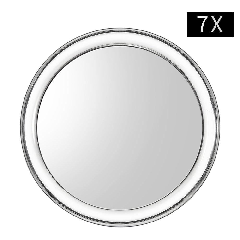 Espejo de maquillaje Uarzt, 10x/7x aumentos, espejo de belleza de 10 cm, espejo redondo de maquillaje para baño o mesa de dormitorio, 7X
