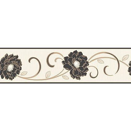 . Fine Decor Florentina Wallpaper Border Cream   Black   Gold