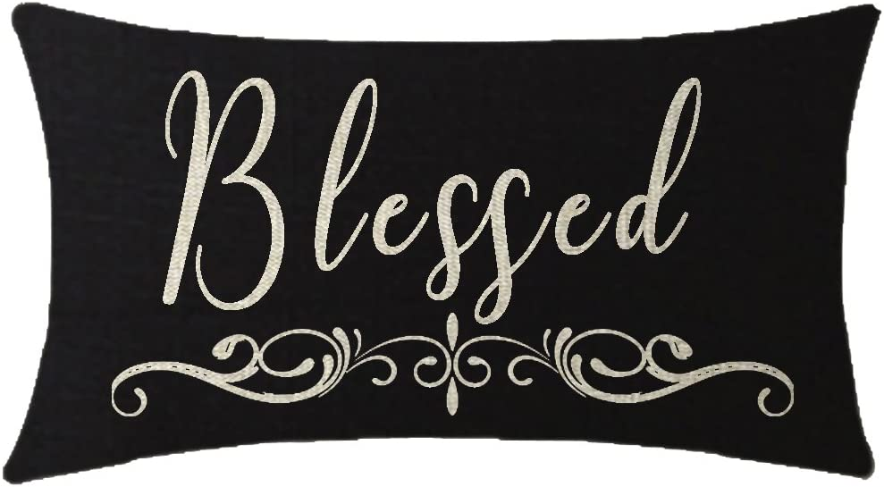 NIDITW Harvest Season Golden Autumn Greetings Thanksgiving Day Blessed Waist Lumbar Black Cotton Linen Cushion Cover Pillow Case Cover Sofa Chair Decorative Rectangular 12x20 Inches