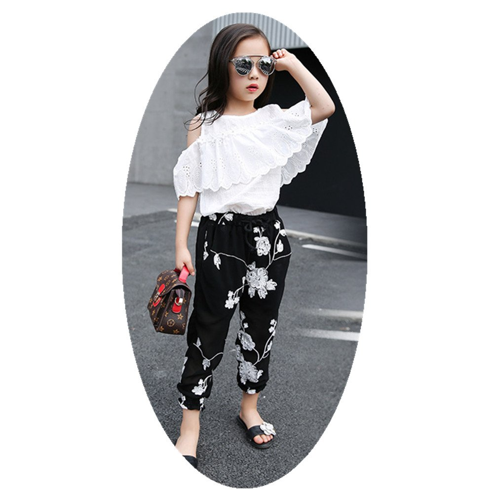 FTSUCQ Girls Pullover Off-Shoulder Lace Shirt Top + Floral Cropped Trousers,140
