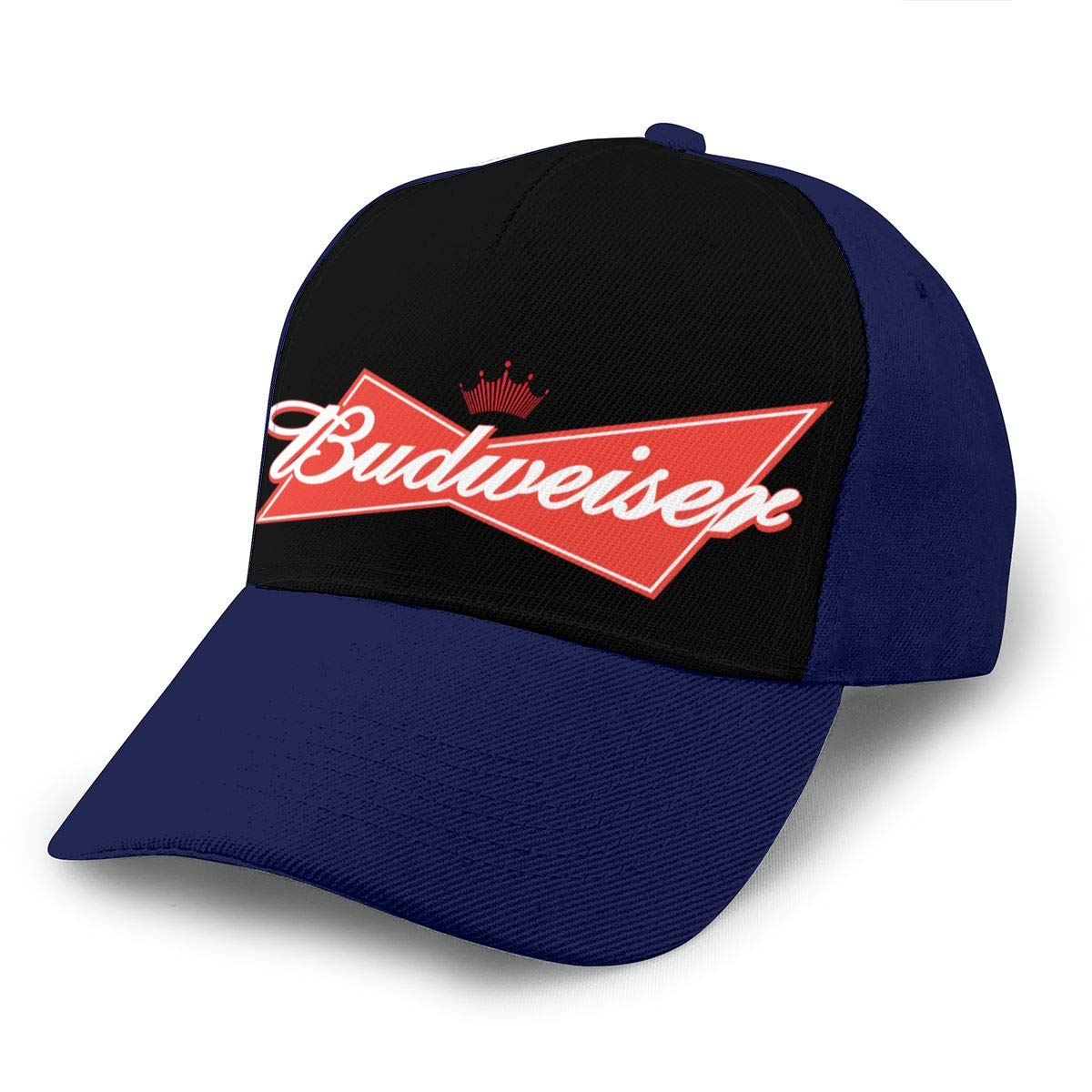 Adjustable Women Men Budweiser-Logo Print Baseball Cap Flat Brim Cap Hats Hip Hop Snapback Sun Hat Boys Girls Navy by Apolonia