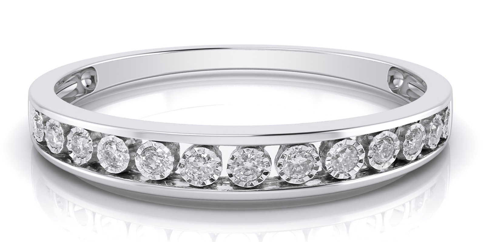 10k White Gold 3mm Channel Set Diamond Band Wedding Anniversary Ring (0.15 ct I-J Color Clarity Si2) (white-gold, 6.5) by Buy Jewels (Image #2)