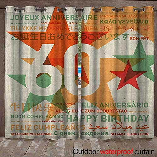 BlountDecor 60th Birthday Grommet Top Curtain World Cities Birthday Party Theme with Abstract Stars PrintW108 x L96 Green Vermilion and White