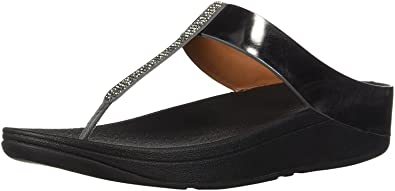 fdc60d1ce Image Unavailable. Image not available for. Color   Fitflop Fino Crystal  Pewter Womens Leather Sandals Flip Flops