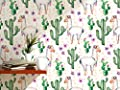 CostaCover - Temporary self adhesive removable wallpaper - hand painted watercolor illustration with cactus flowers and lamas - custom size available
