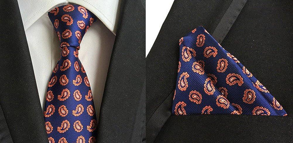 L04BABY Mens Orange Paisley Jacquard Woven Formal Suit Tie Necktie+Pocket Square