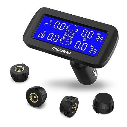 CACAGOO TPMS Sistema inalámbrico de monitoreo de la presión de los neumáticos Encendedor de cigarrillos con 4 sensores internos IP67 Pantalla LCD ...