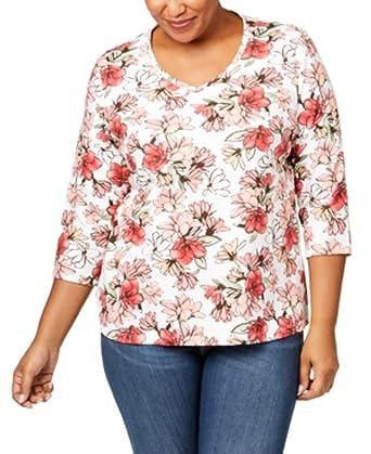 63f41f0a0e288 Karen Scott Plus Size Cotton Printed V-Neck T-Shirt at Amazon ...