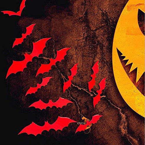 12pcs 3D DIY PVC Bat Wall Sticker Decal Home Halloween Decoration Black - 1