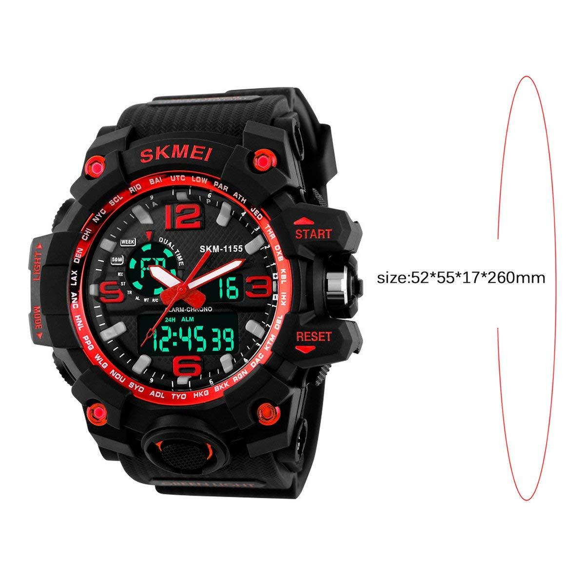 SKMEI 1155 Fashion Men Sports Watch Luminous Men Pointer Reloj LED Digital 5ATM Reloj Militar Impermeable - Rojo: Amazon.es: Relojes