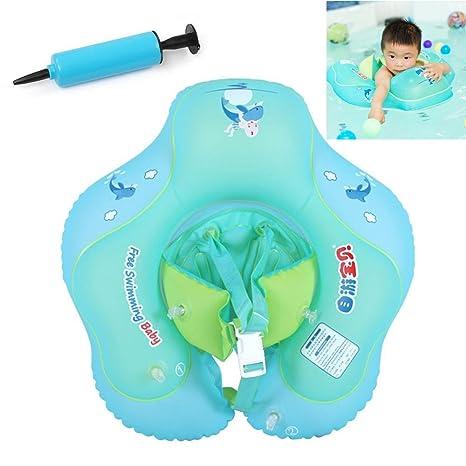 Pawaca Flotador para bebé con asiento, Ajustable Inflable Doble Airbag Piscina Nadar Anillo para Bebe