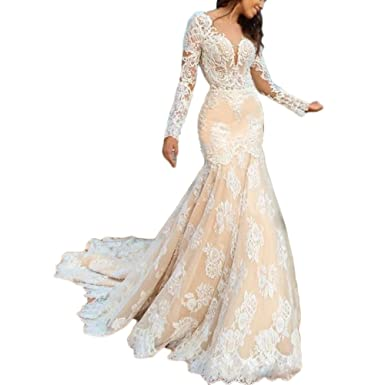 06a0604f27 Liliesdresses Women s Low Cut Lace Wedding Gown with Sleeves Train Mermaid  Evening Gown Backless Long Bridal