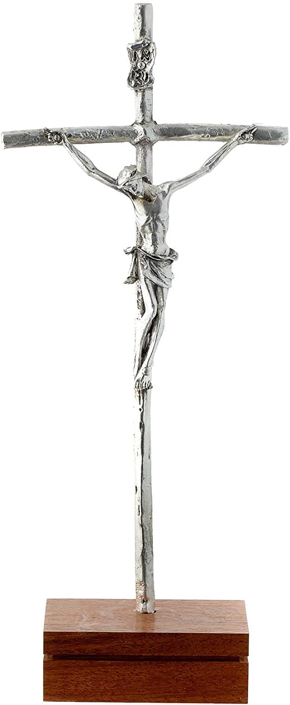 Holyart Crucifijo de Mesa Metal Base Madera 23,5 cm: Amazon.es: Hogar