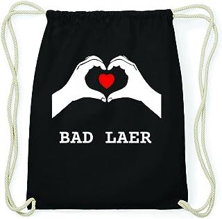 jollify Bad Laer Hipster Sac de gym en coton Sac à dos–Couleur: Noir